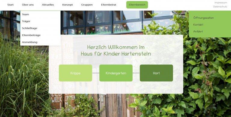 Screenshot des Internetauftrittes Haus für Kinder Hartenstein